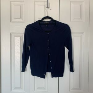 J Crew Navy Cropped Featherweight Cashmere Cardi